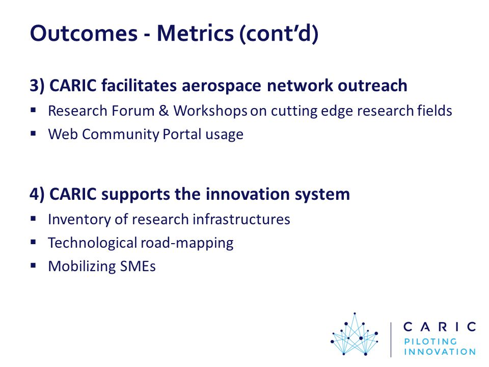 Outcomes - Metrics (cont'd) 3) CARIC facilitates aerospace network outreach  Research Forum & Workshops on cutting edge research fields  Web Community Portal usage 4) CARIC supports the innovation system  Inventory of research infrastructures  Technological road-mapping  Mobilizing SMEs
