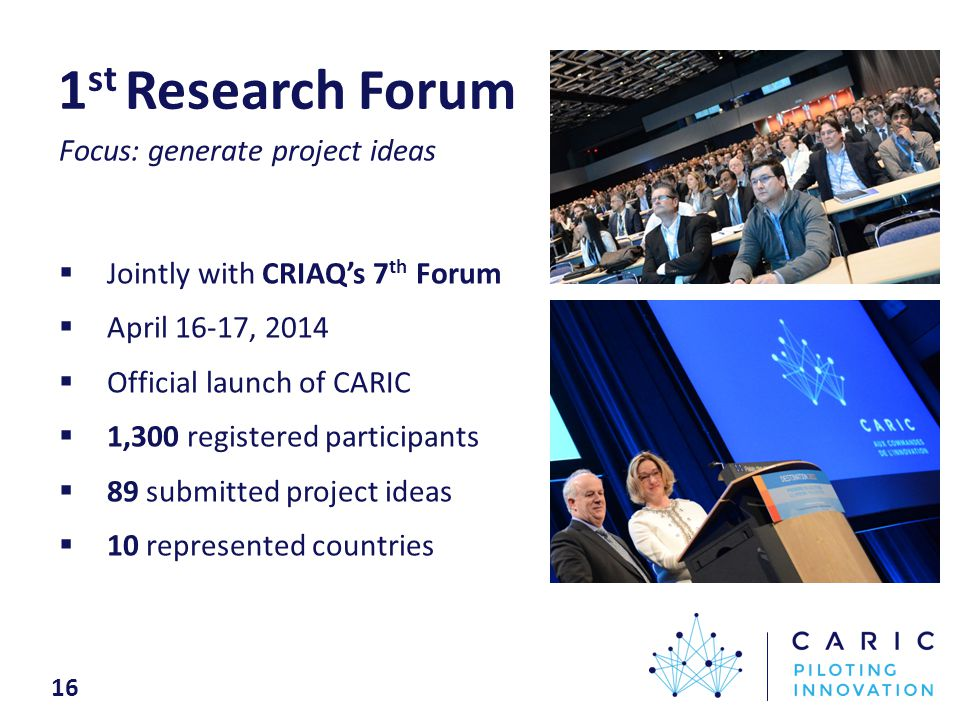 1 st Research Forum  Jointly with CRIAQ's 7 th Forum  April 16-17, 2014  Official launch of CARIC  1,300 registered participants  89 submitted project ideas  10 represented countries 16 Focus: generate project ideas