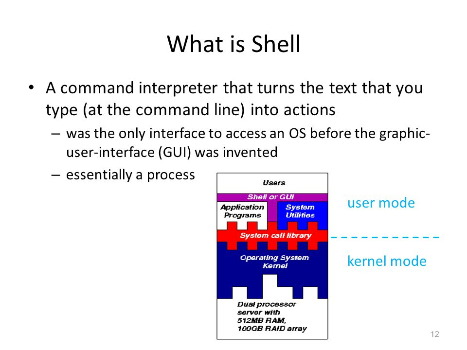 What is Shell A command interpreter that turns the text that you type (at the command line) into actions – was the only interface to access an OS befo