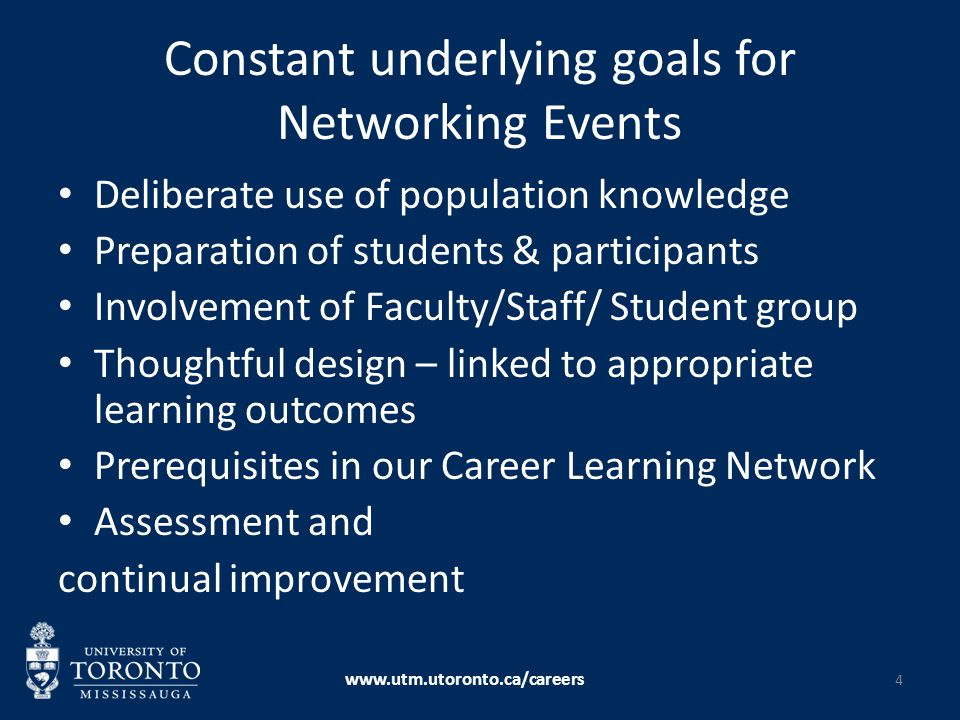 Constant underlying goals for Networking Events Deliberate use of population knowledge Preparation of students & participants Involvement of Faculty/S