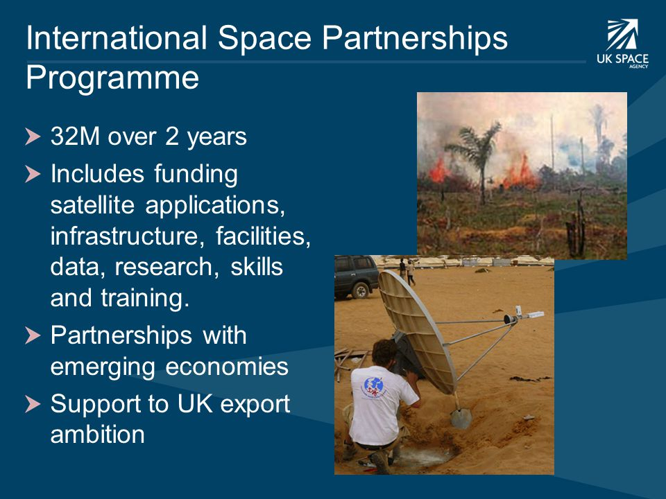 International Space Partnerships Programme 32M over 2 years Includes funding satellite applications, infrastructure, facilities, data, research, skill