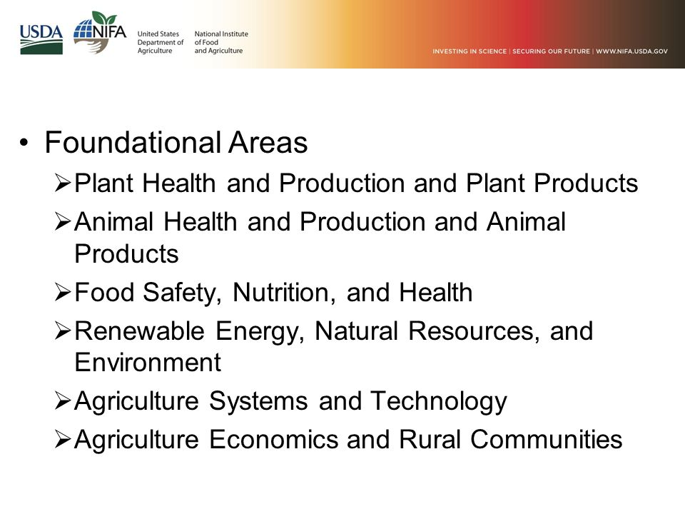 Foundational Areas  Plant Health and Production and Plant Products  Animal Health and Production and Animal Products  Food Safety, Nutrition, and H