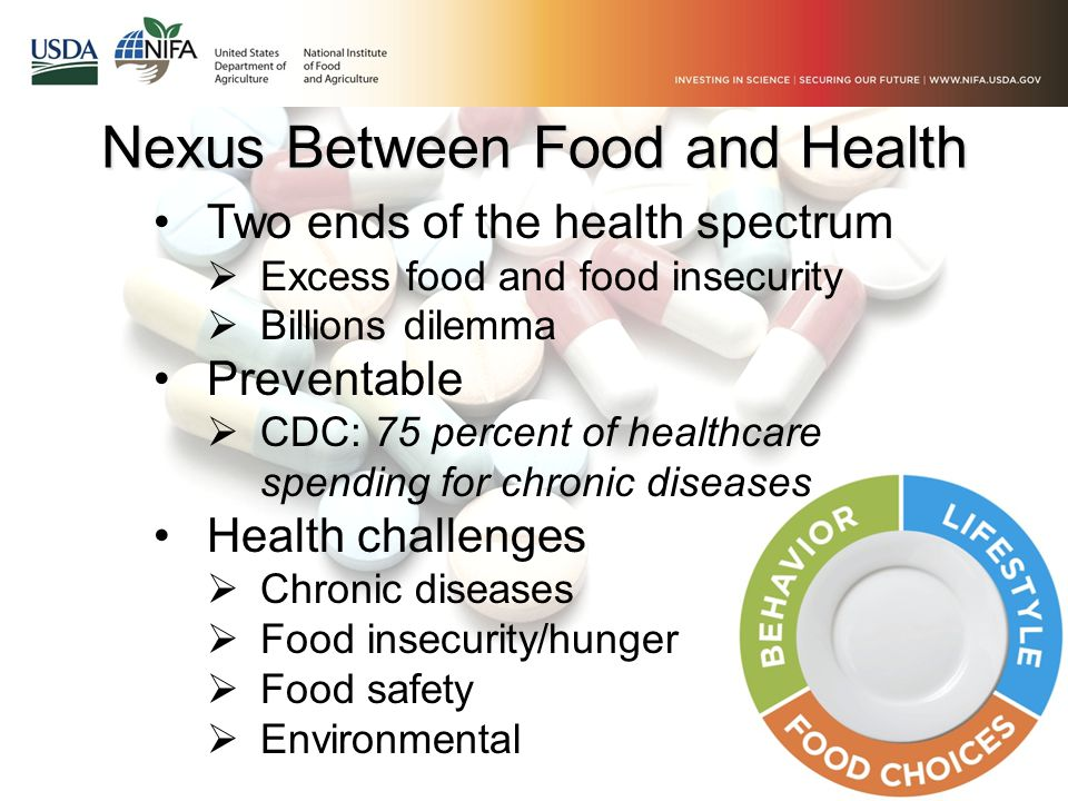 Nexus Between Food and Health Two ends of the health spectrum  Excess food and food insecurity  Billions dilemma Preventable  CDC: 75 percent of he