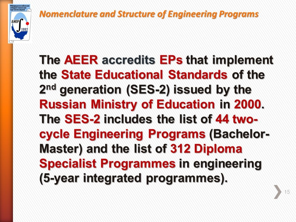 Nomenclature and Structure of Engineering Programs 15 The AEER accredits EPs that implement the State Educational Standards of the 2 nd generation (SES-2) issued by the Russian Ministry of Education in 2000.