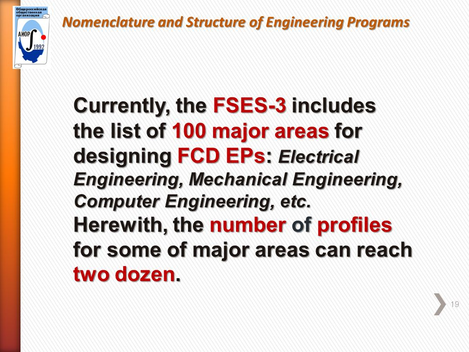 Nomenclature and Structure of Engineering Programs 19 Currently, the FSES-3 includes the list of 100 major areas for designing FCD EPs: Electrical Engineering, Mechanical Engineering, Computer Engineering, etc.