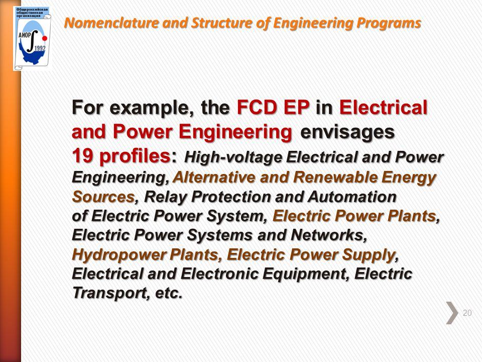 Nomenclature and Structure of Engineering Programs 20 For example, the FCD EP in Electrical and Power Engineering envisages 19 profiles: High-voltage Electrical and Power Engineering, Alternative and Renewable Energy Sources, Relay Protection and Automation of Electric Power System, Electric Power Plants, Electric Power Systems and Networks, Hydropower Plants, Electric Power Supply, Electrical and Electronic Equipment, Electric Transport, etc.