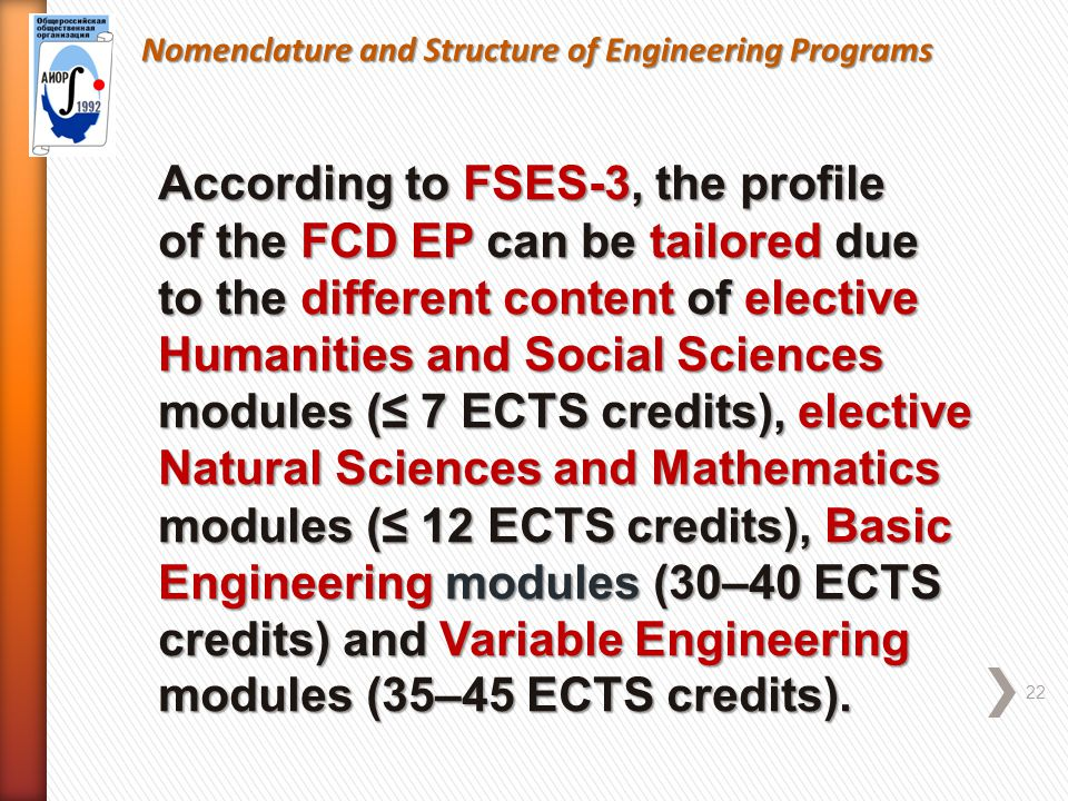Nomenclature and Structure of Engineering Programs 22 According to FSES-3, the profile of the FCD EP can be tailored due to the different content of elective Humanities and Social Sciences modules (≤ 7 ECTS credits), elective Natural Sciences and Mathematics modules (≤ 12 ECTS credits), Basic Engineering modules (30–40 ECTS credits) and Variable Engineering modules (35–45 ECTS credits).