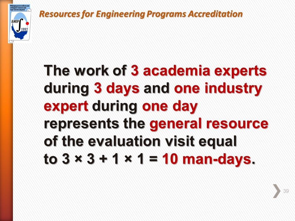 Resources for Engineering Programs Accreditation 39 The work of 3 academia experts during 3 days and one industry expert during one day represents the general resource of the evaluation visit equal to 3 × 3 + 1 × 1 = 10 man-days.