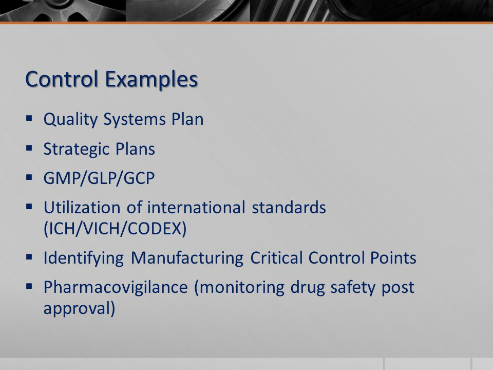  Quality Systems Plan  Strategic Plans  GMP/GLP/GCP  Utilization of international standards (ICH/VICH/CODEX)  Identifying Manufacturing Critical Control Points  Pharmacovigilance (monitoring drug safety post approval) Control Examples