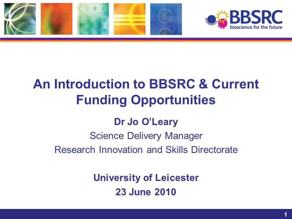 1 An Introduction to BBSRC & Current Funding Opportunities Dr Jo O'Leary Science Delivery Manager Research Innovation and Skills Directorate Universit