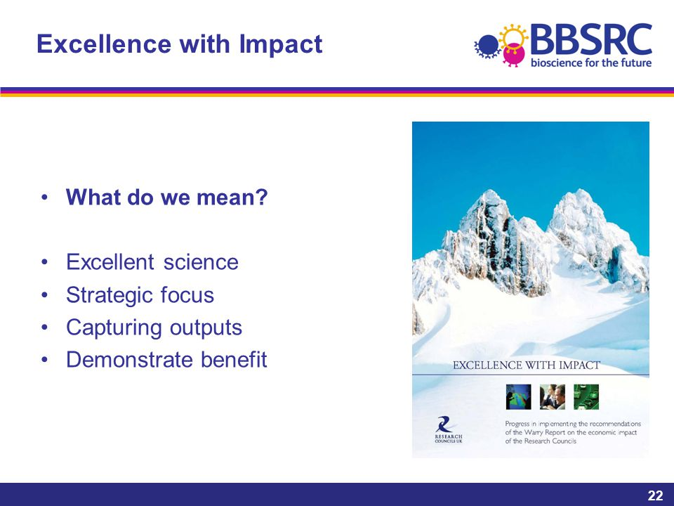 Excellence with Impact What do we mean.