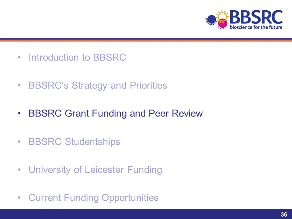 Introduction to BBSRC BBSRC's Strategy and Priorities BBSRC Grant Funding and Peer Review BBSRC Studentships University of Leicester Funding Current F