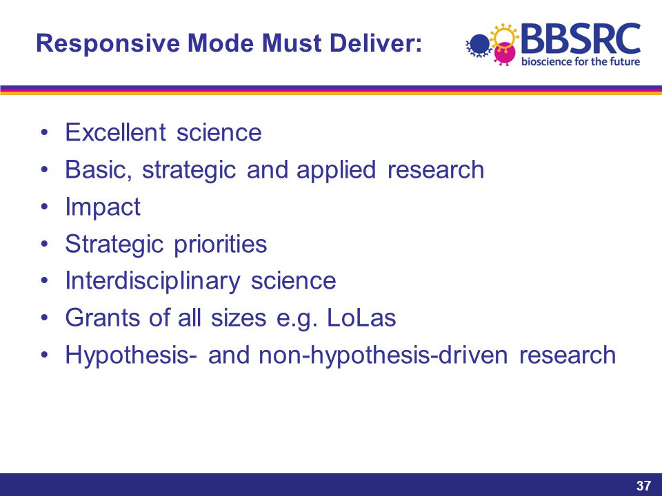 Responsive Mode Must Deliver: Excellent science Basic, strategic and applied research Impact Strategic priorities Interdisciplinary science Grants of