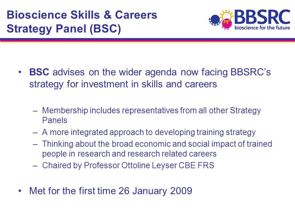 BSC advises on the wider agenda now facing BBSRC's strategy for investment in skills and careers –Membership includes representatives from all other Strategy Panels –A more integrated approach to developing training strategy –Thinking about the broad economic and social impact of trained people in research and research related careers –Chaired by Professor Ottoline Leyser CBE FRS Met for the first time 26 January 2009 Bioscience Skills & Careers Strategy Panel (BSC)