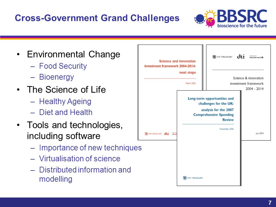 7 Cross-Government Grand Challenges Environmental Change –Food Security –Bioenergy The Science of Life –Healthy Ageing –Diet and Health Tools and technologies, including software –Importance of new techniques –Virtualisation of science –Distributed information and modelling