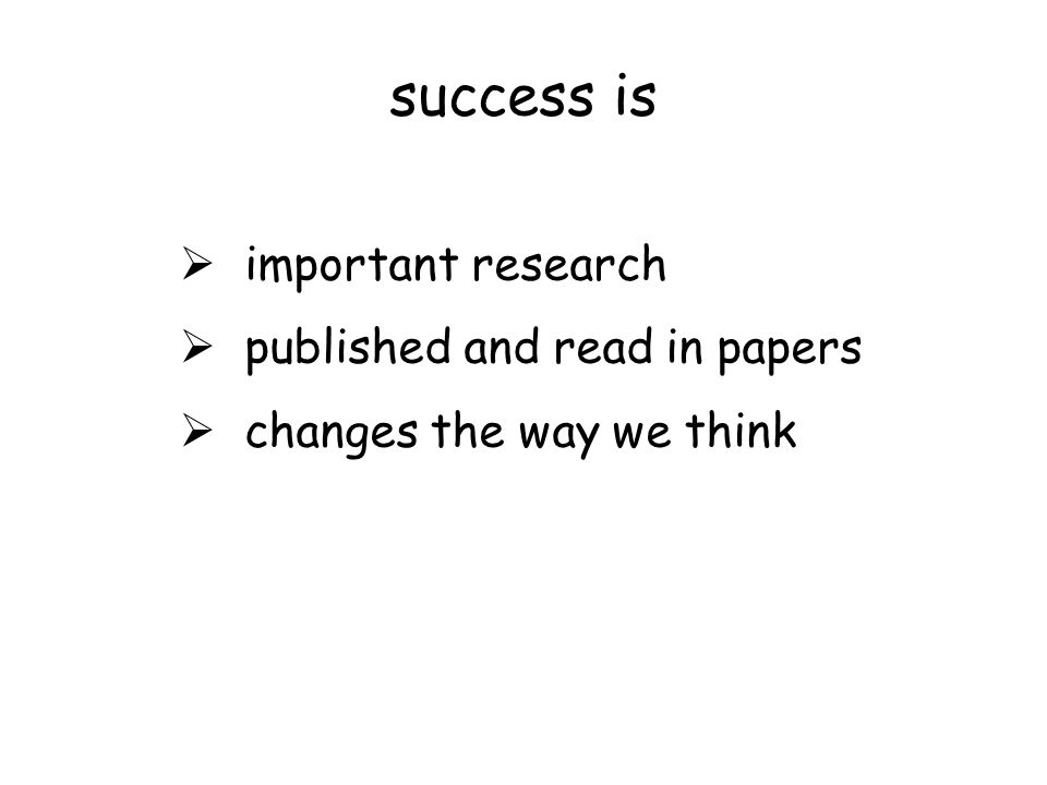 success is  important research  published and read in papers  changes the way we think