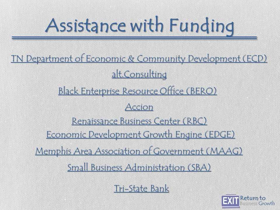 Assistance with Funding Accion alt.Consulting Black Enterprise Resource Office (BERO) Black Enterprise Resource Office (BERO) Economic Development Growth Engine (EDGE) Economic Development Growth Engine (EDGE) Memphis Area Association of Government (MAAG) Memphis Area Association of Government (MAAG) Tri-State Bank Tri-State Bank Small Business Administration (SBA) Small Business Administration (SBA) Renaissance Business Center (RBC) Renaissance Business Center (RBC) TN Department of Economic & Community Development (ECD) TN Department of Economic & Community Development (ECD)