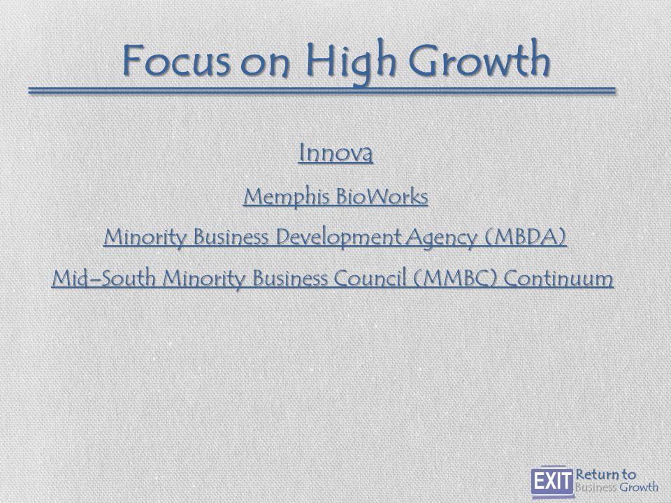 Focus on High Growth Innova Memphis BioWorks Memphis BioWorks Minority Business Development Agency (MBDA) Minority Business Development Agency (MBDA) Mid–South Minority Business Council (MMBC) Continuum Mid–South Minority Business Council (MMBC) Continuum