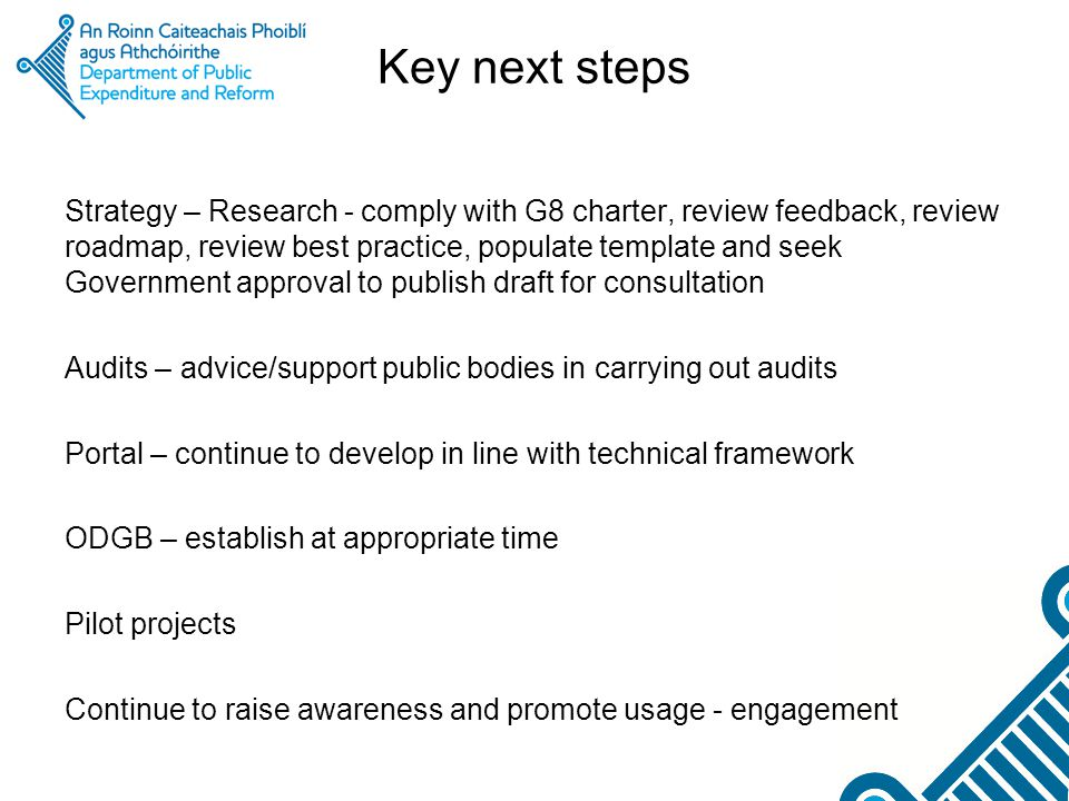 Key next steps Strategy – Research - comply with G8 charter, review feedback, review roadmap, review best practice, populate template and seek Governm