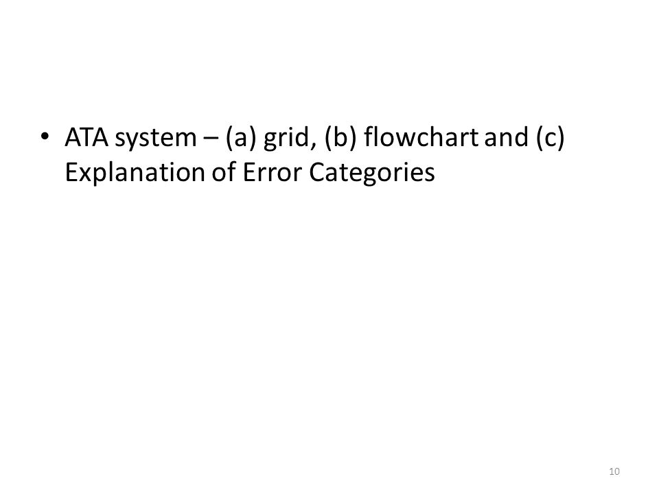 ATA ATA system – (a) grid, (b) flowchart and (c) Explanation of Error Categories 10