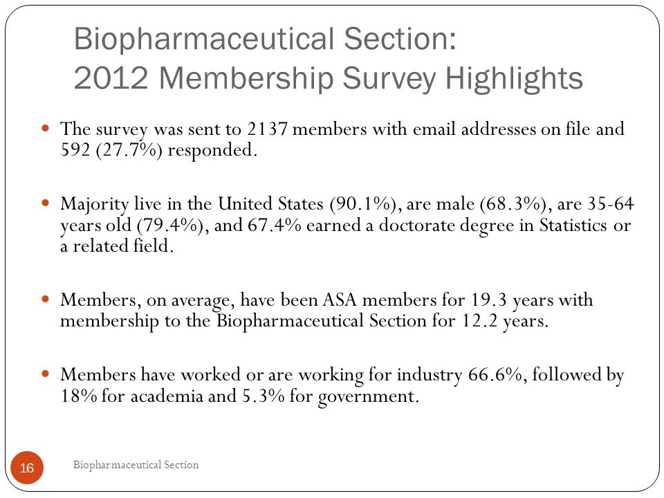 Biopharmaceutical Section: 2012 Membership Survey Highlights The survey was sent to 2137 members with email addresses on file and 592 (27.7%) responded.
