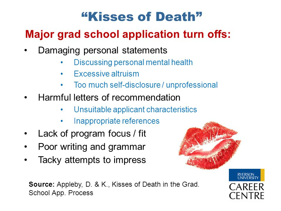 """Kisses of Death"" Damaging personal statements Discussing personal mental health Excessive altruism Too much self-disclosure / unprofessional Harmful"