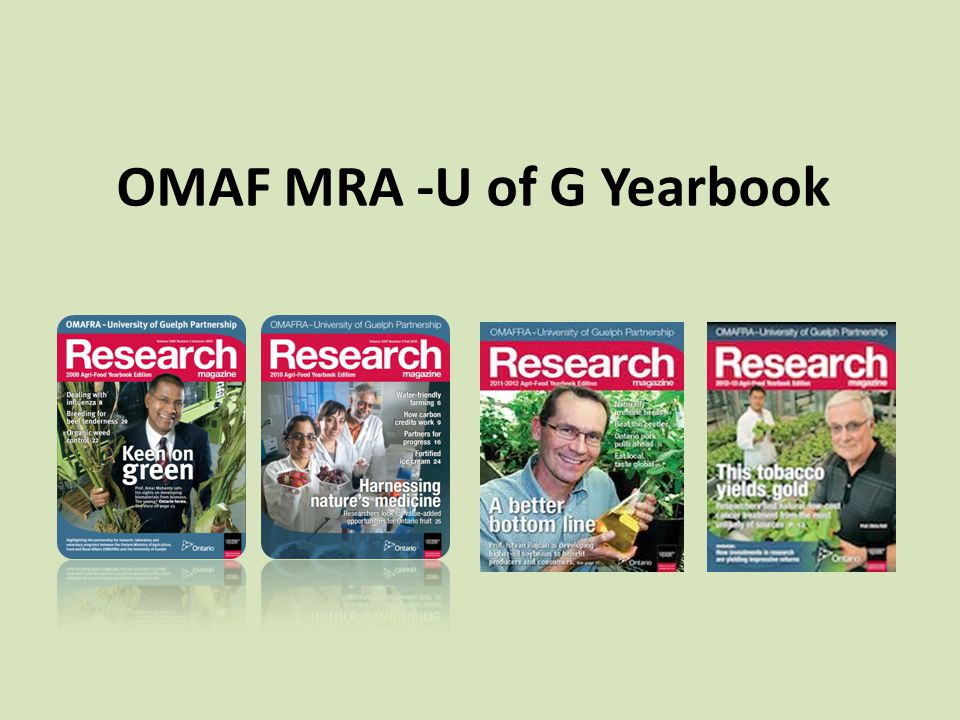 OMAF MRA -U of G Yearbook