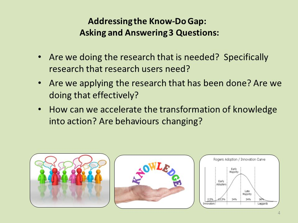 4 Addressing the Know-Do Gap: Asking and Answering 3 Questions: Are we doing the research that is needed.