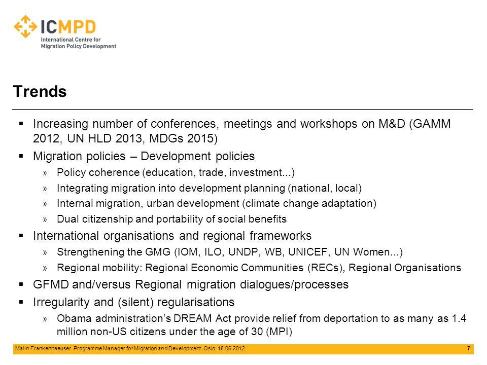 8 Malin Frankenhaeuser Programme Manager for Migration and Development Oslo, 18.06.2012 Megatrends for Future International Migrations IMI 2011