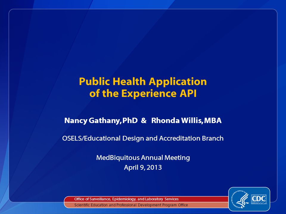 Nation's premier public health agency— working to ensure healthy people in a healthy world.
