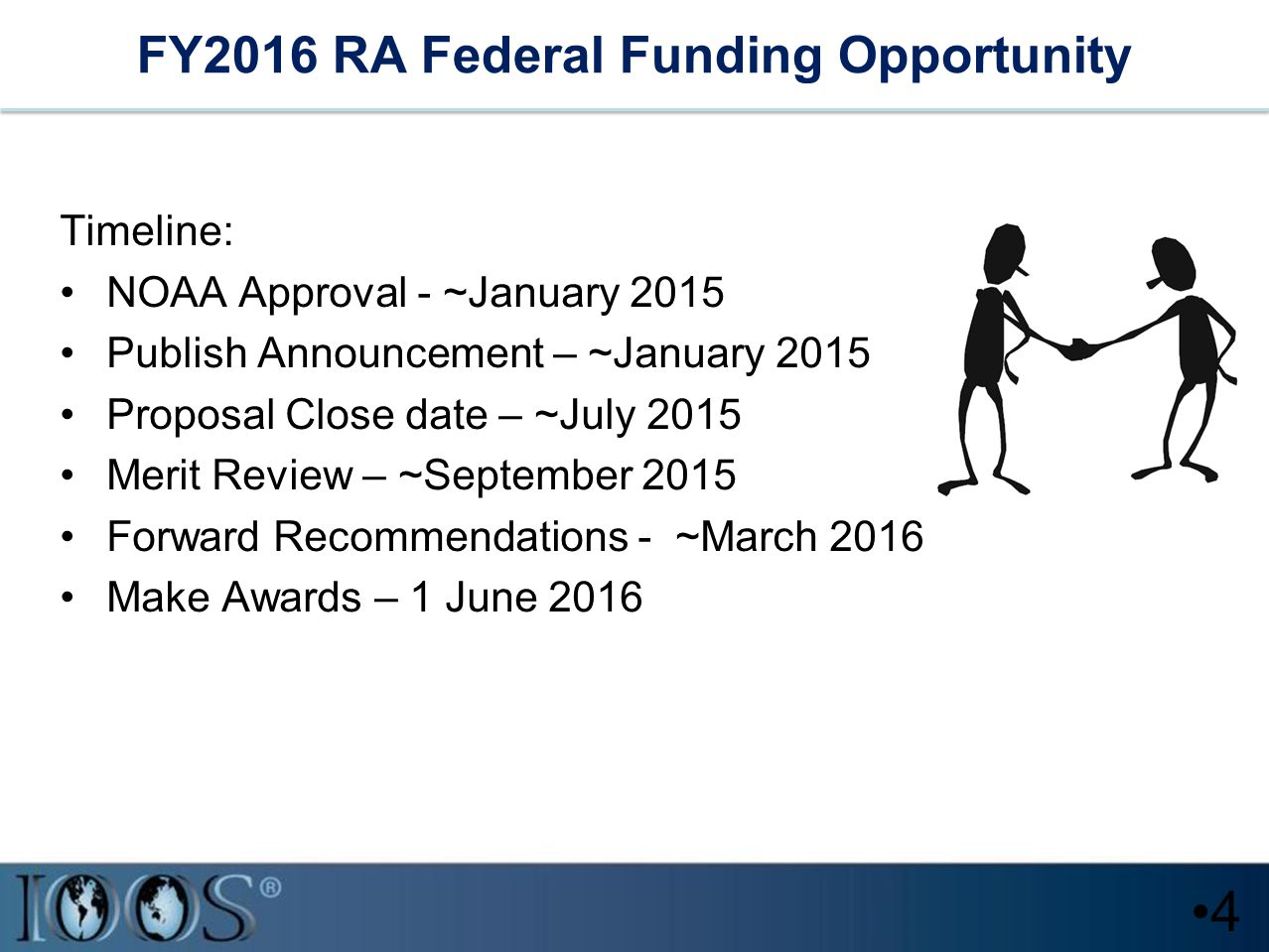 FY2016 RA Federal Funding Opportunity Timeline: NOAA Approval - ~January 2015 Publish Announcement – ~January 2015 Proposal Close date – ~July 2015 Merit Review – ~September 2015 Forward Recommendations - ~March 2016 Make Awards – 1 June 2016 4