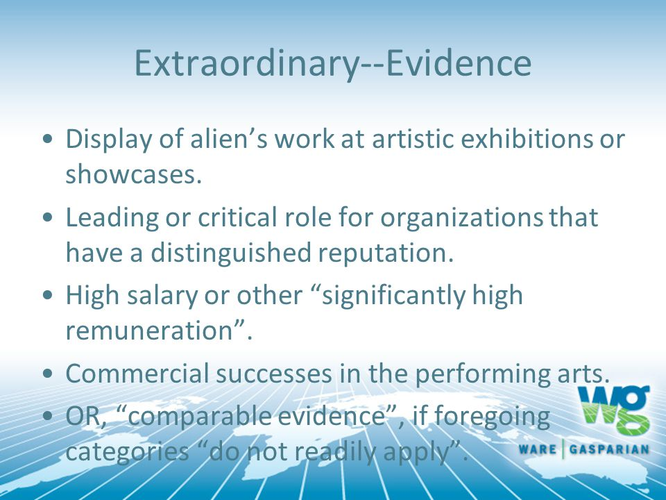 Extraordinary--Evidence Display of alien's work at artistic exhibitions or showcases. Leading or critical role for organizations that have a distingui