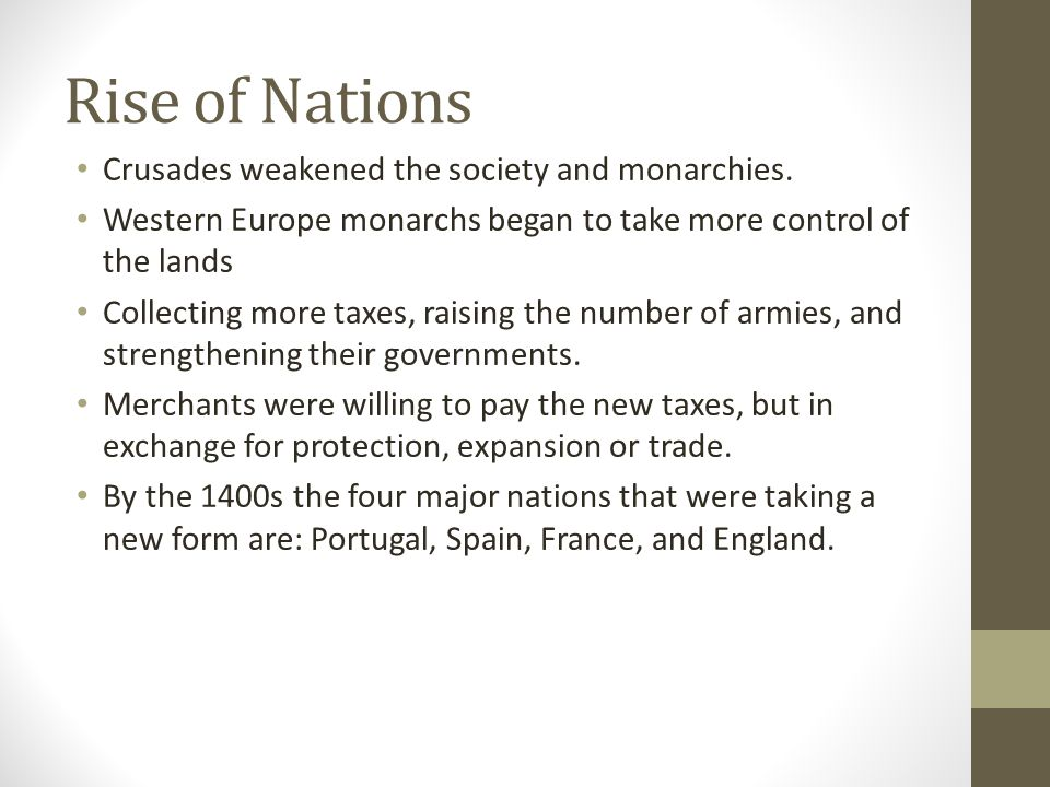 Rise of Nations Crusades weakened the society and monarchies.