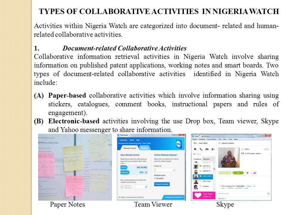 Activities within Nigeria Watch are categorized into document- related and human- related collaborative activities.