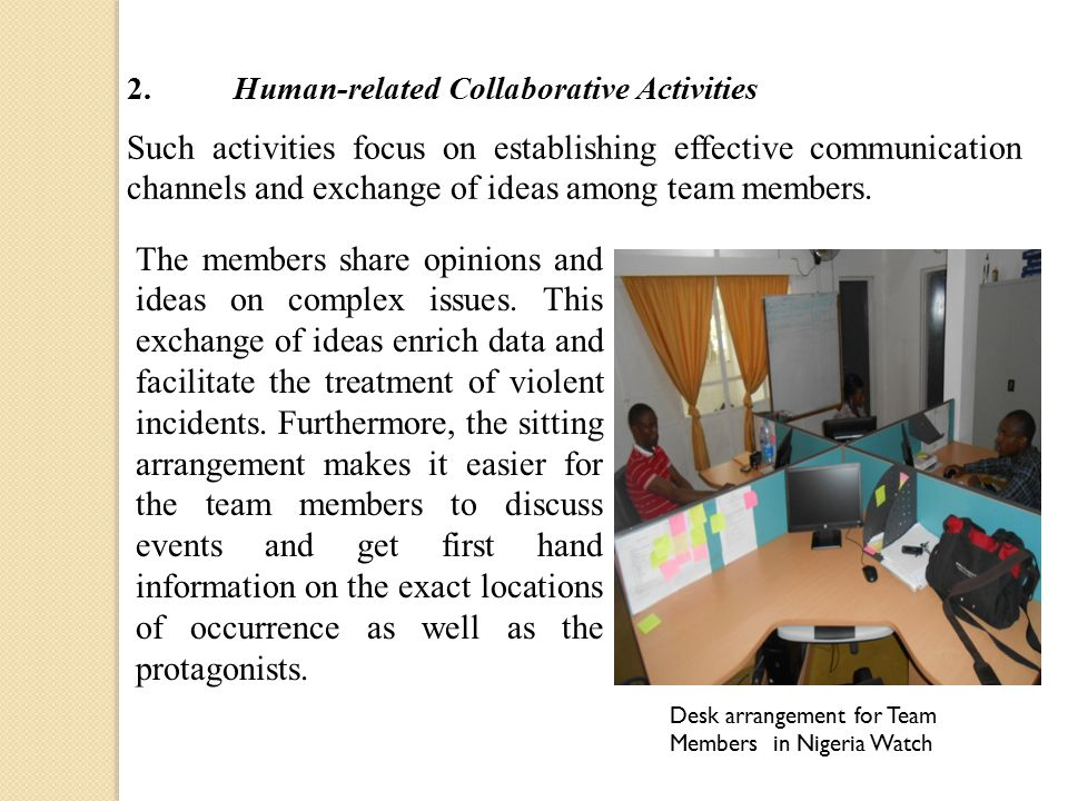 Such activities focus on establishing effective communication channels and exchange of ideas among team members. Desk arrangement for Team Members in