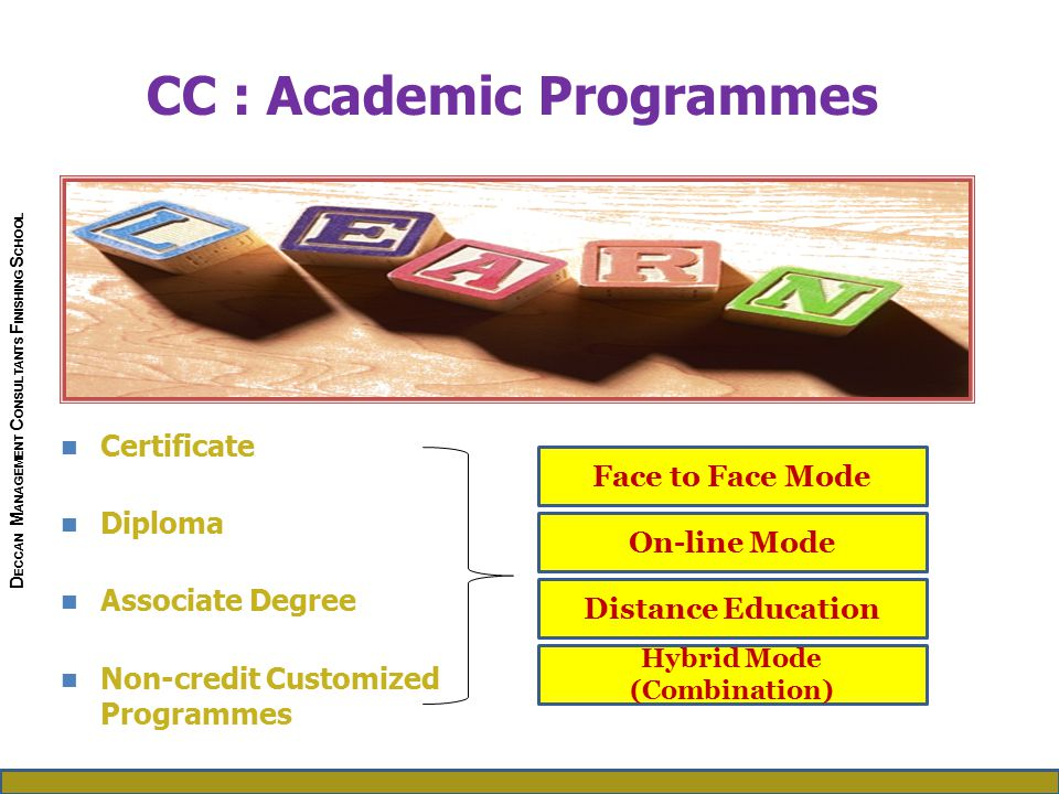 Certificate Diploma Associate Degree Non-credit Customized Programmes CC : Academic Programmes Face to Face Mode On-line Mode Distance Education Hybrid Mode (Combination) D ECCAN M ANAGEMENT C ONSULTANTS F INISHING S CHOOL