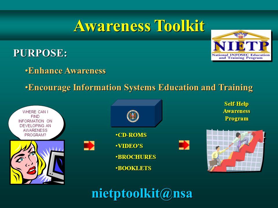 PURPOSE: Enhance AwarenessEnhance Awareness Encourage Information Systems Education and TrainingEncourage Information Systems Education and Training C