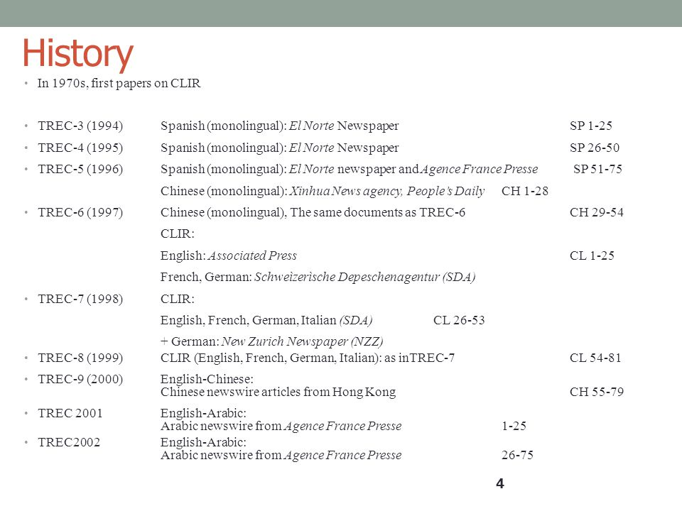 History In 1970s, first papers on CLIR TREC-3 (1994)Spanish (monolingual): El Norte NewspaperSP 1-25 TREC-4 (1995)Spanish (monolingual): El Norte News