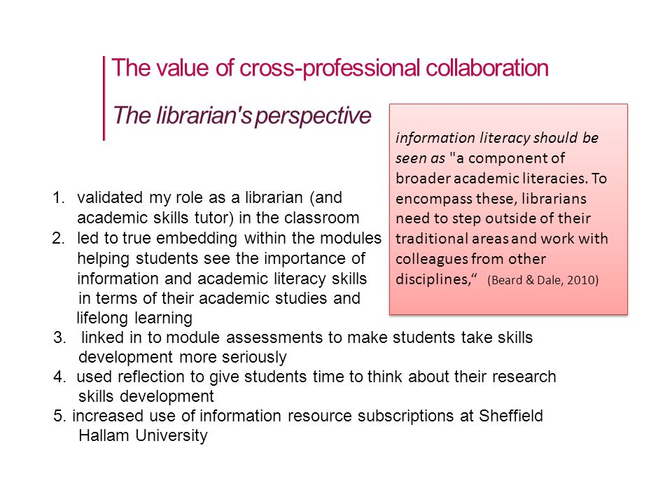The value of cross-professional collaboration in terms of their academic studies and lifelong learning 3.