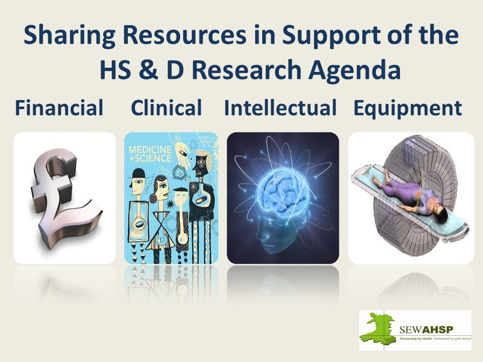 Sharing Resources in Support of the HS & D Research Agenda Financial Clinical Intellectual Equipment