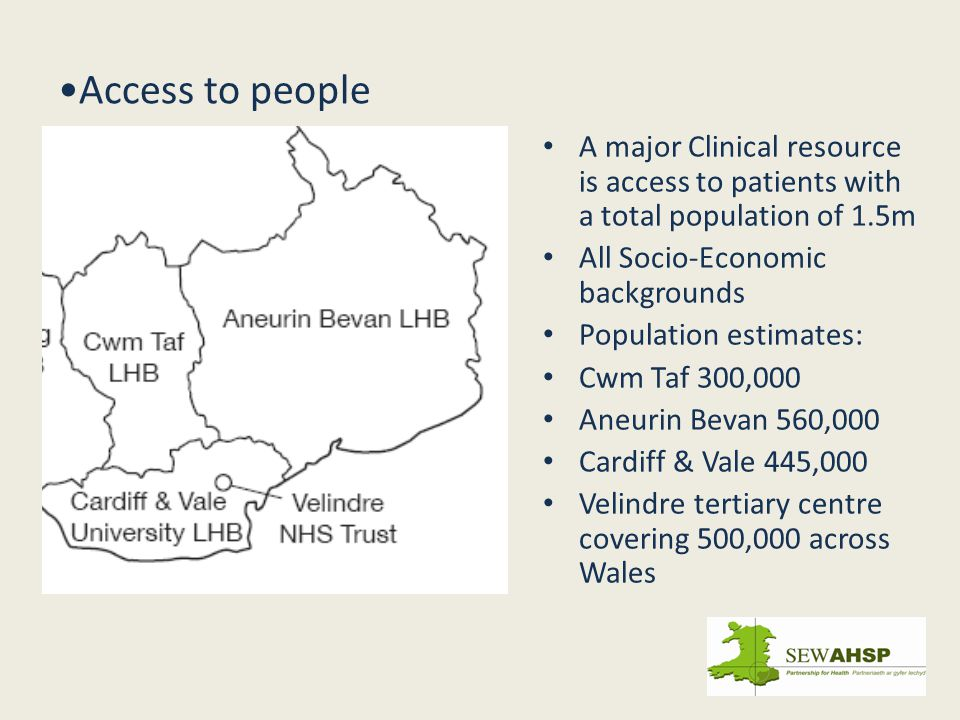 Access to people A major Clinical resource is access to patients with a total population of 1.5m All Socio-Economic backgrounds Population estimates: Cwm Taf 300,000 Aneurin Bevan 560,000 Cardiff & Vale 445,000 Velindre tertiary centre covering 500,000 across Wales