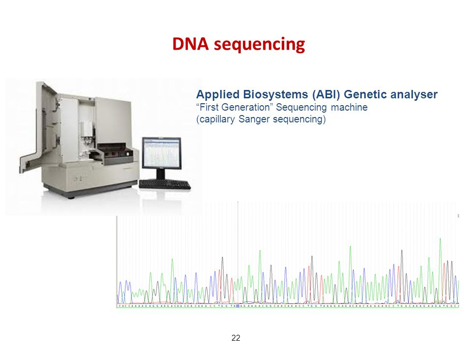 "DNA sequencing 22 Applied Biosystems (ABI) Genetic analyser ""First Generation"" Sequencing machine (capillary Sanger sequencing)"