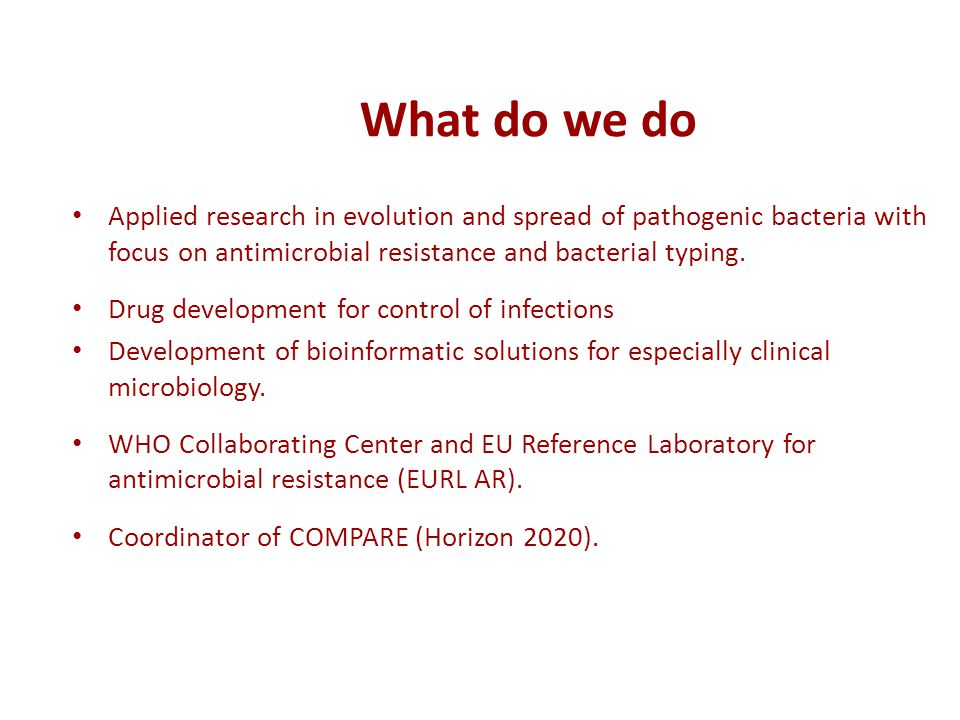 What do we do Applied research in evolution and spread of pathogenic bacteria with focus on antimicrobial resistance and bacterial typing. Drug develo
