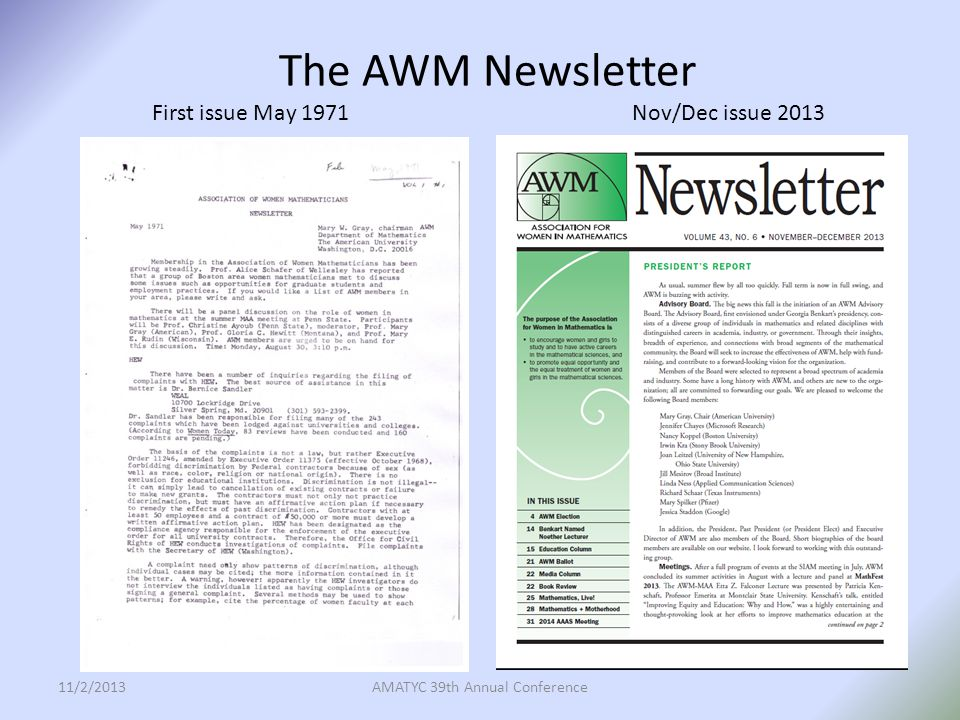 The AWM Newsletter First issue May 1971 Nov/Dec issue 2013 11/2/2013AMATYC 39th Annual Conference