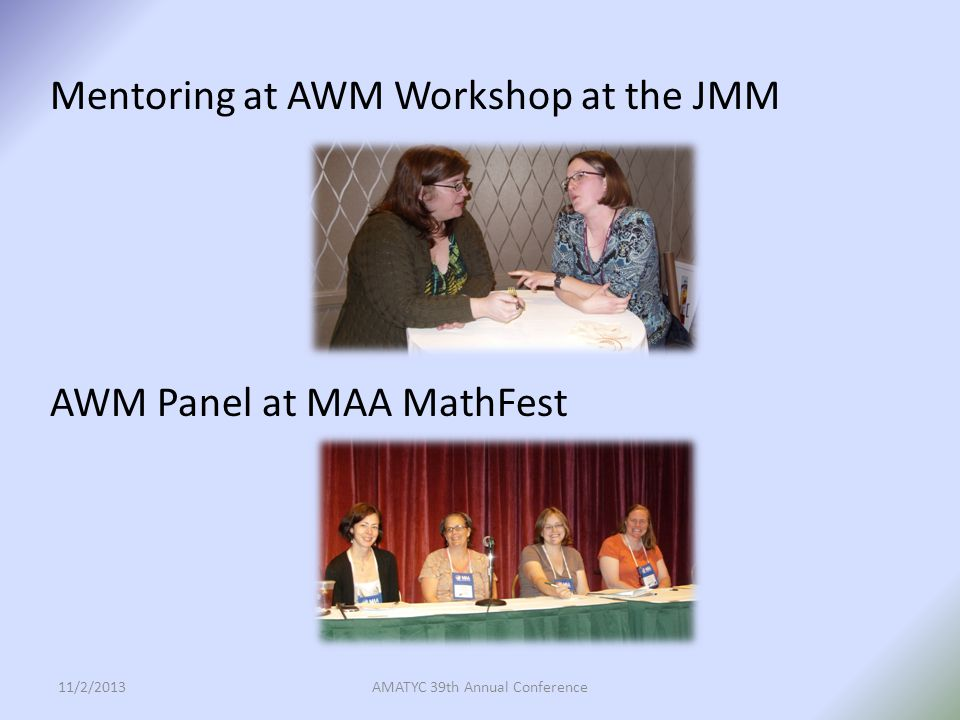 Mentoring at AWM Workshop at the JMM AWM Panel at MAA MathFest 11/2/2013AMATYC 39th Annual Conference