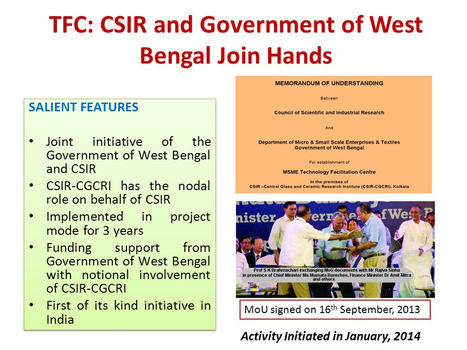 Vision Creating a sustainable ecosystem of micro, small and medium enterprises to drive economic prosperity of the State Mission To achieve technological enablement of West Bengal's small scale sector leveraging the prowess of our knowledge institutions