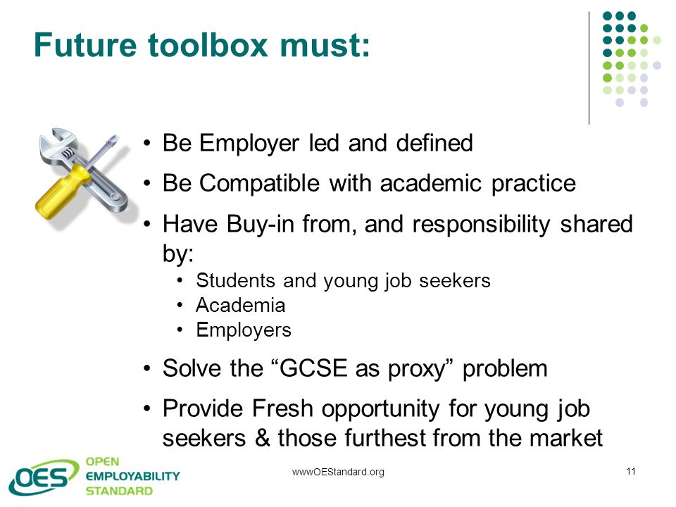 Future toolbox must: wwwOEStandard.org 11 Be Employer led and defined Be Compatible with academic practice Have Buy-in from, and responsibility shared
