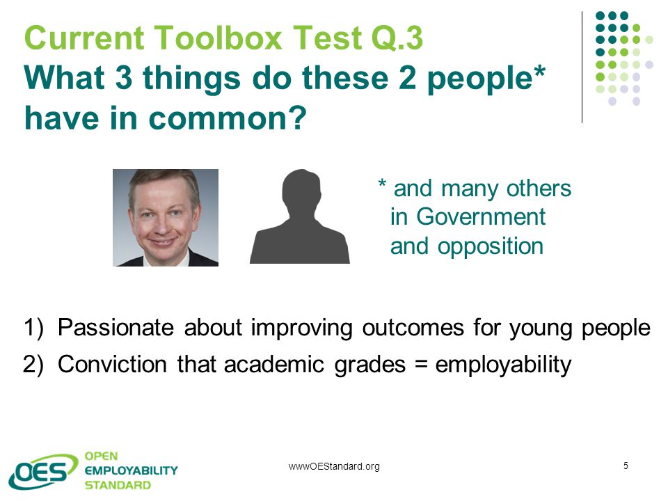 wwwOEStandard.org 5 Current Toolbox Test Q.3 What 3 things do these 2 people* have in common.
