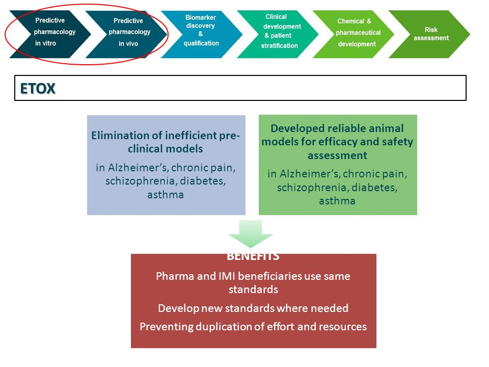 ETOX Elimination of inefficient pre-clinical models in Alzheimer's, chronic pain, schizophrenia, diabetes, asthma Developed reliable animal models for efficacy and safety assessment in Alzheimer's, chronic pain, schizophrenia, diabetes, asthma BENEFITS Pharma and IMI beneficiaries use same standards Develop new standards where needed Preventing duplication of effort and resources