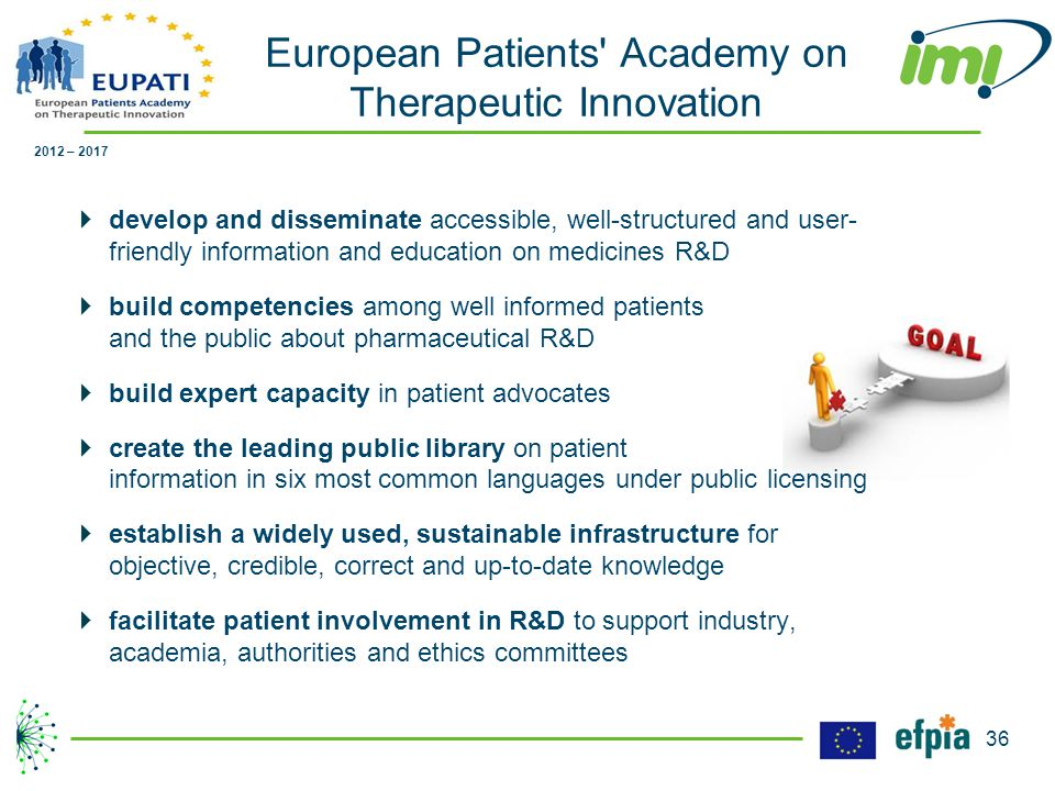  develop and disseminate accessible, well-structured and user- friendly information and education on medicines R&D  build competencies among well informed patients and the public about pharmaceutical R&D  build expert capacity in patient advocates  create the leading public library on patient information in six most common languages under public licensing  establish a widely used, sustainable infrastructure for objective, credible, correct and up-to-date knowledge  facilitate patient involvement in R&D to support industry, academia, authorities and ethics committees 2012 – 2017 European Patients Academy on Therapeutic Innovation 36